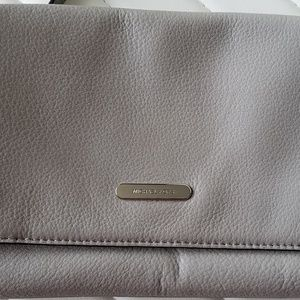 Michael Kors Clutch Handbag Gray Fawn Leather